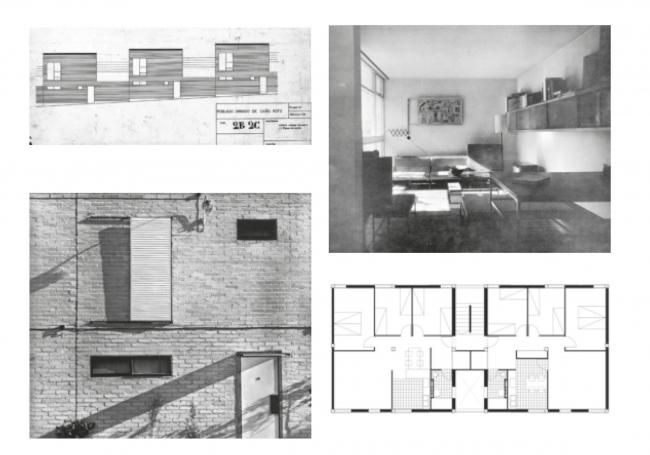 Фасад, план и интерьер типового малоэтажного дома. Поселение Каньё Рото. Мадрид. Иллюстрация предоставлена издательством «БуксМарт»