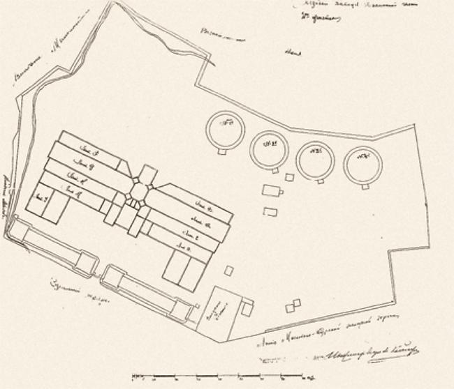 Московский газовый завод: схема расположения корпусов на 1868 год. Предоставлено компанией «Большой город»