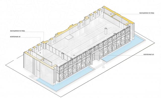 Реконструкция здания под мусульманский религиозный центр «14 Святых». План 2 этажа © Mamedov + Partners