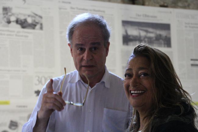 Заха Хадид с Пьером де Мероном. Венецианская биеннале-2012 © Юлия Тарабарина