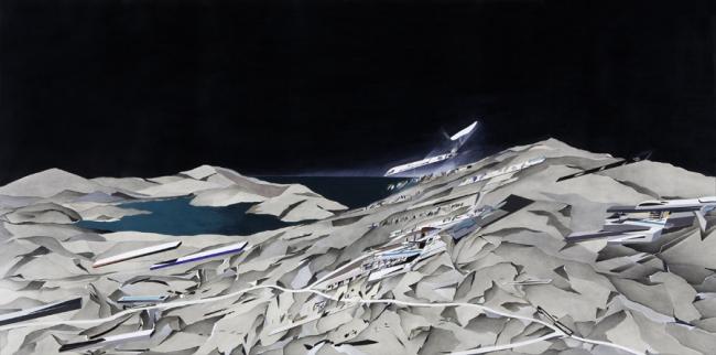 Заха Хадид. Клуб The Peak на горе над Гонконгом. Живописное полотно на тему проекта © Zaha Hadid Architects