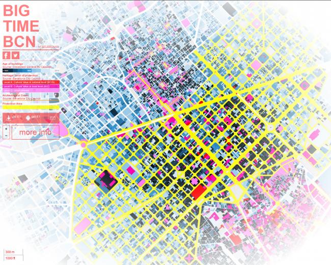 Карта возрастов застройки Барселоны © команда
