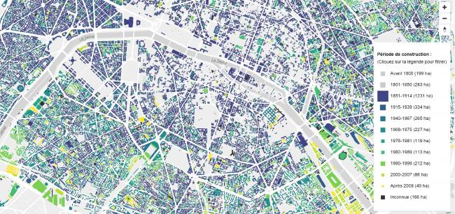 Карта возрастов зданий Парижа © Etienne Côme