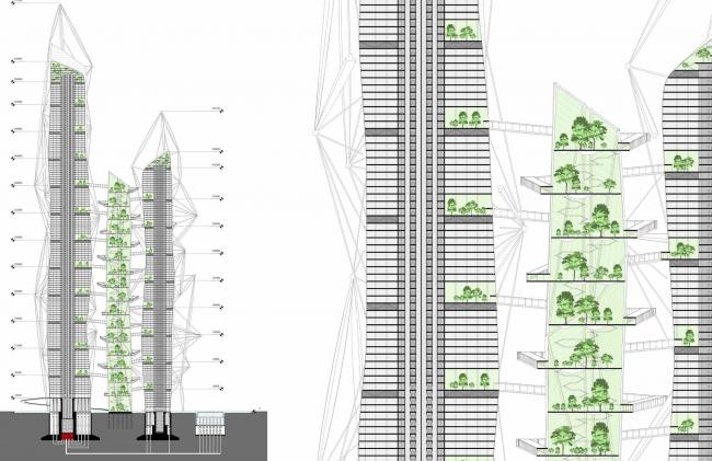 Проект небоскреба для конкурса Evolo-2016. Разрез © Arch group