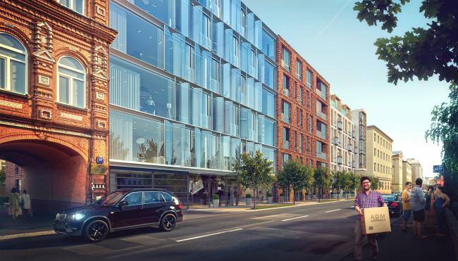 Жилой дом на Малой Ордынке. Главный фасад. Вариант 2, проект, 2016. В процессе строительства © ADM