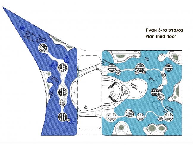 Технопарк Сбербанка в Сколково. План третьего этажа © Zaha Hadid Architects