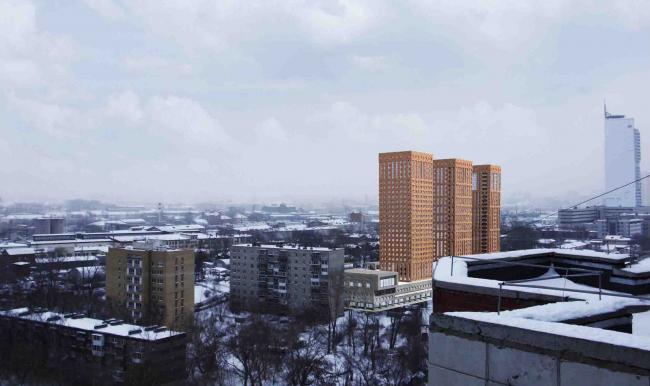 Многофункциональный жилой комплекс в Екатеринбурге. Проект, 2016 © Архстройдизайн