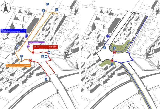 Проект реконструкции Боровицкой площади школы AFF. Схемы пешеходного движения. Проект, 2014 © Школа AFF