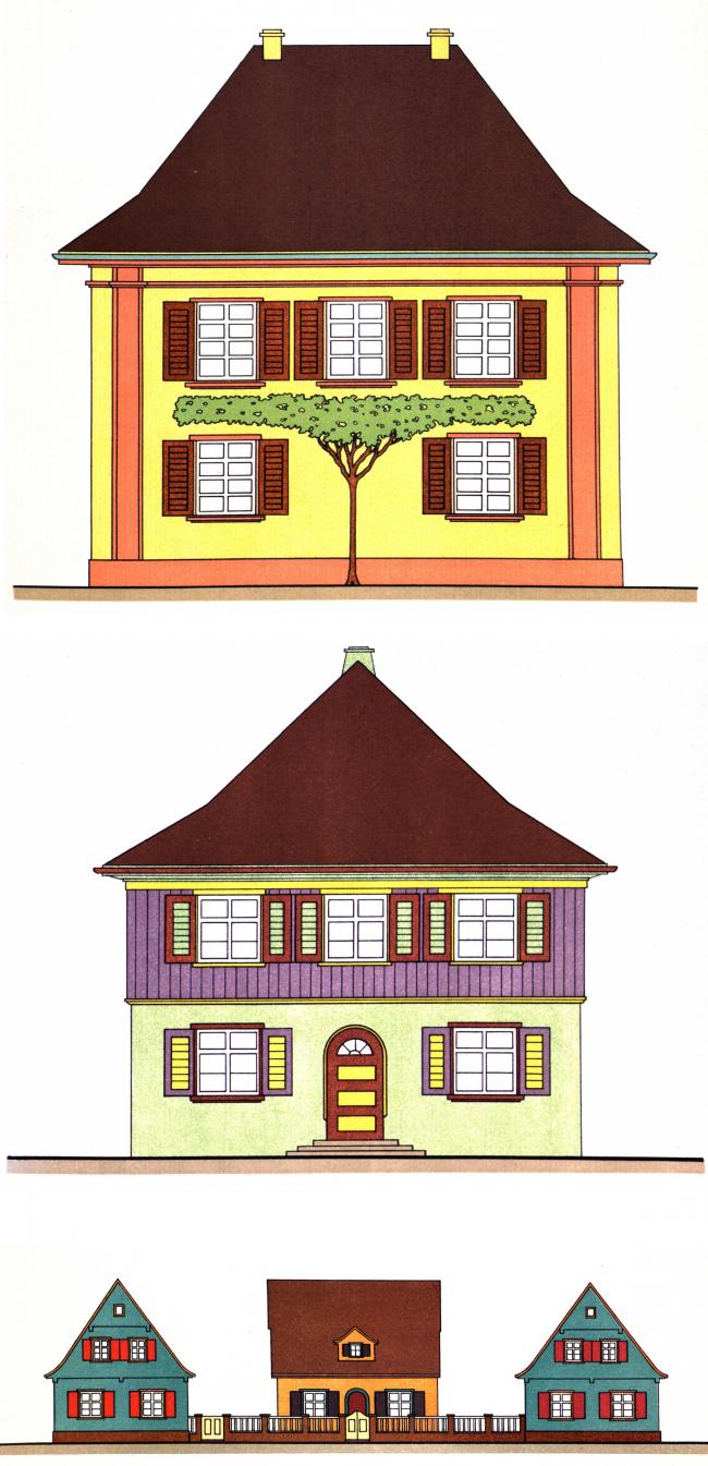 Типовые проекты цветно раскрашенных сельских и городских домов, архитекторы Бюлер и Ергер. Изображение предоставлено издательством «БуксМарт»