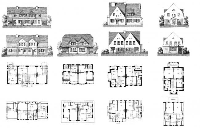 4 типа домов. Слева направо: тип 1 сблокированный – тип 2 сблокированный – тип 3 сблокированный – тип 4 особняк. Фасады и планы. Изображение предоставлено издательством «БуксМарт»