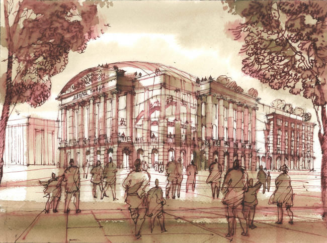 Театр Эйфмана, проект. Рисунок Сергея Чобана, 2016