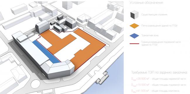Многофункциональный жилой комплекс в Екатеринбурге. Ограничения участка. Проект, 2016 © T+T Architects
