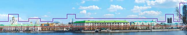 Многофункциональный жилой комплекс в Екатеринбурге. Визуально-ландшафтный анализ. Проект, 2016 © T+T Architects
