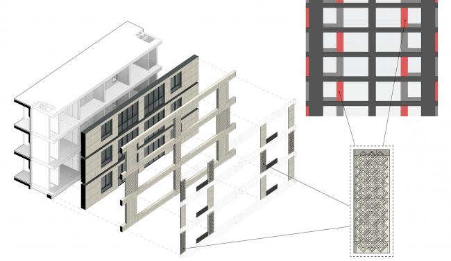 Многофункциональный жилой комплекс в Екатеринбурге. Схема устройства фасада корпуса Б. Проект, 2016 © T+T Architects