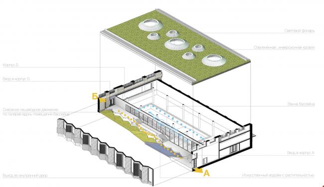 Многофункциональный жилой комплекс в Екатеринбурге. Схема бассейна с галереей. Проект, 2016 © T+T Architects