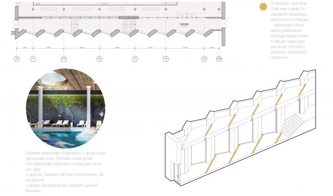Многофункциональный жилой комплекс в Екатеринбурге. План галереи. Проект, 2016 © T+T Architects
