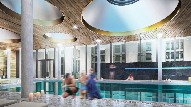 Многофункциональный жилой комплекс в Екатеринбурге. Бассейн. Проект, 2016 © T+T Architects