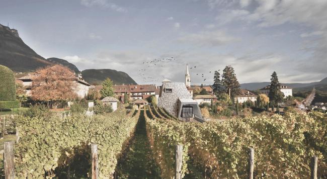 Проект библиотеки в Кальдаро-сулла-Страда-дель-Вино. Изображение предоставлено студией Вальтера Ангонезе