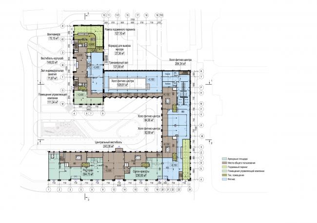Многофункциональный жилой комплекс в Екатеринбурге. План 1 этажа. Проект, 2016 © T+T Architects