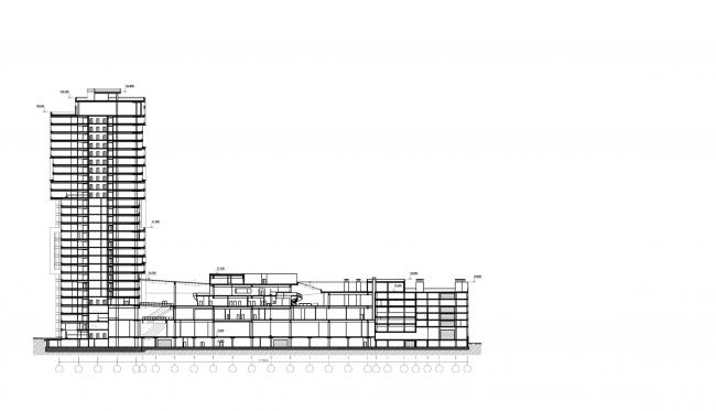 Торгово-деловой комплекс «Водный». Разрез © AM «Атриум»