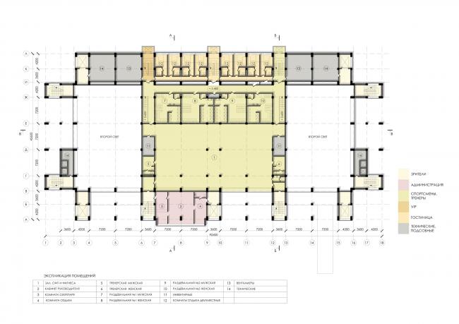 Спортивно-оздоровительный комплекс школы дзюдо. План 3 этажа © Студия 44