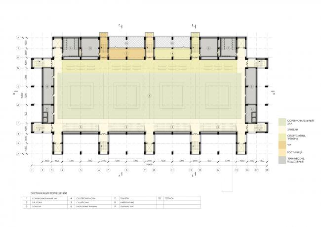 Спортивно-оздоровительный комплекс школы дзюдо. План 5 этажа © Студия 44