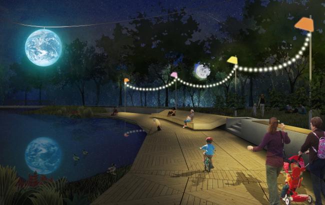 Городской парк в городе Гагарине. Ночной вид и подсветка. Проект, 2015 © Архитектурное бюро Практика