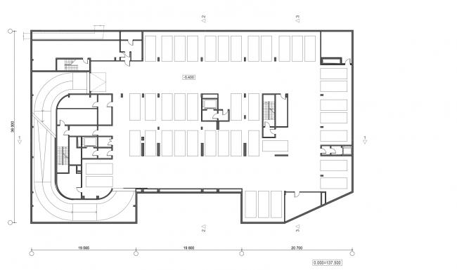 Жилой дом с подземной автостоянкой на ул. Бурденко. План -1 этажа © Сергей Скуратов ARCHITECTS