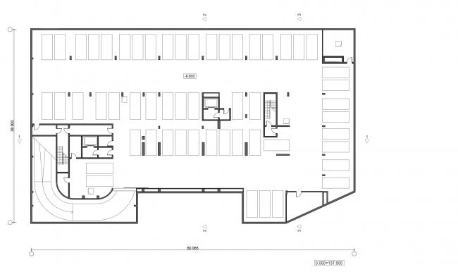 Жилой дом с подземной автостоянкой на ул. Бурденко. План -2 этажа © Сергей Скуратов ARCHITECTS