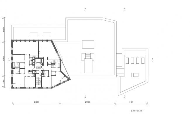 Жилой дом с подземной автостоянкой на ул. Бурденко. План 9 этажа © Сергей Скуратов ARCHITECTS