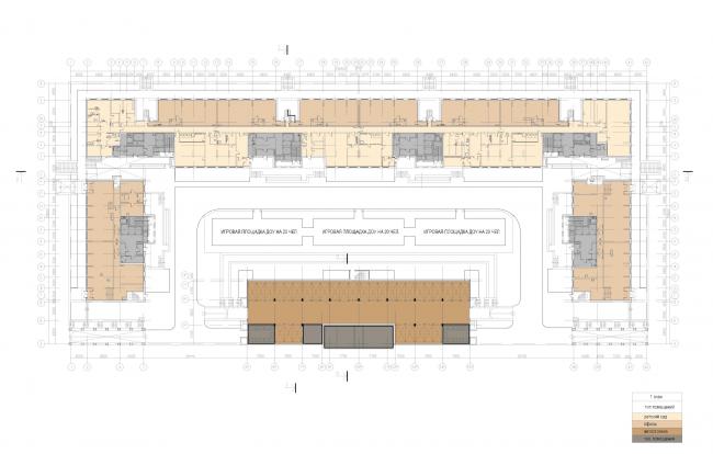Многофункциональный жилой комплекс «Мегалит». План 1 этажа © Евгений Герасимов и партнеры