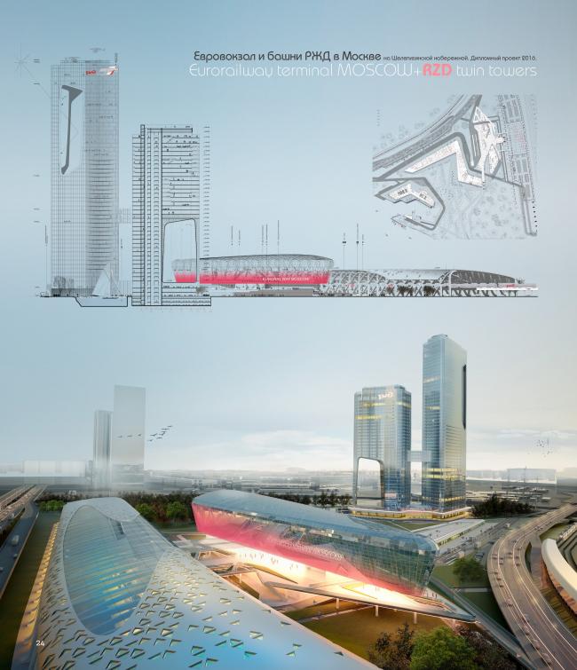 Евровокзал и башни РЖД на Шелепихинской набережной. Дипломный проект Полины Корочковой © Четвертое измерение