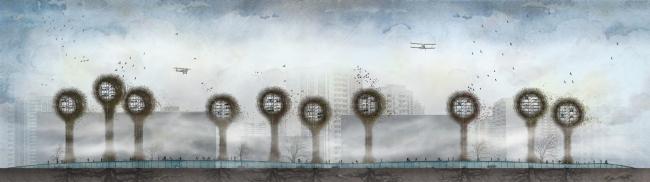 Механизированные парковки-гнёзда © Анастасия Зонова. Мастерская Петра Виноградова и Евгения Золотухина