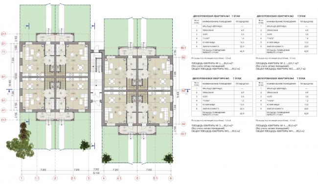 Малоэтажный многоквартирный жилой дом повышенной комфортности в квартале «Ёлки-парк». План 1 этажа © Архстройдизайн