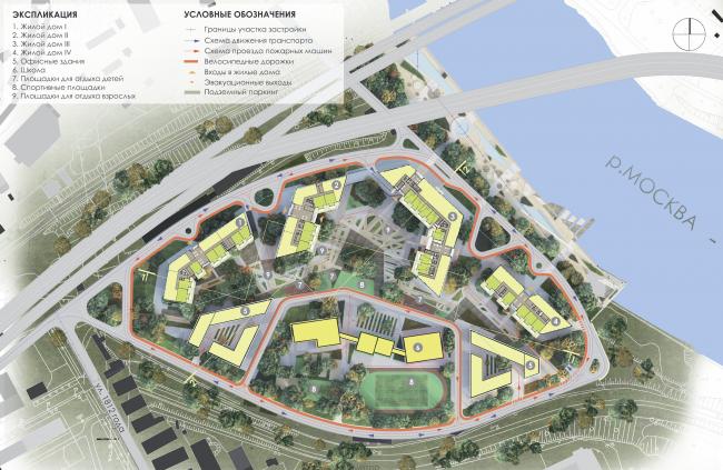 Многофункциональный жилой комплекс на территории завода «Филикровля». Генеральный план. Проект, 2016 © Архиматика