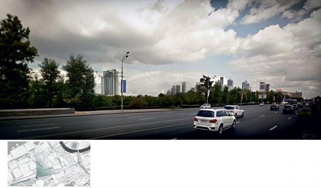 Многофункциональный жилой комплекс на территории завода «Филикровля». Фотомонтаж (вид со стороны Кутузовского проспекта). Проект, 2015 © Архиматика