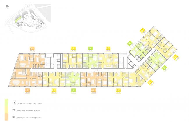Многофункциональный жилой комплекс на территории завода «Филикровля». План типового этажа (дом 1). Проект, 2016 © Архиматика