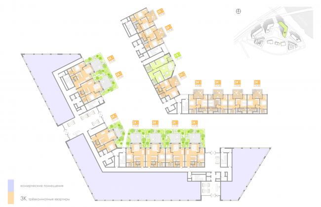 Многофункциональный жилой комплекс на территории завода «Филикровля». План 1-2 этажей (дом 3). Проект, 2016 © Архиматика
