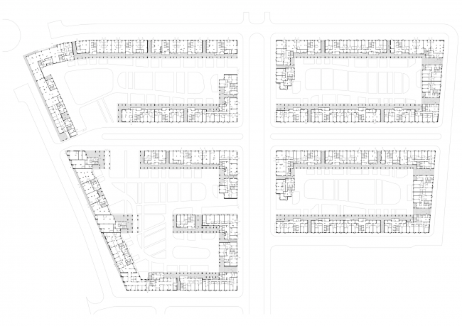 Жилая застройка в посёлке Красково. Жилой комплекс. План 1 этажа © АБ Остоженка