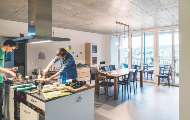 Cluster House, Цюрих, Швейцария.  Duplex Architekten AG © Johannes Marburg