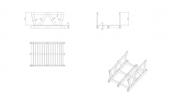 Мост. Wowhaus. Архстояние 2016. Деревянные конструкции. Схема компоновки досок © Wowhaus, Есберген Сабитов