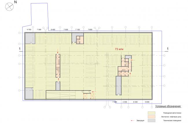 Административно-жилое здание на Малой Трубецкой улице. План -2 этажа © Архитектурная мастерская Павла Андреева (АМ «Гран»)