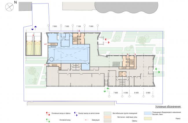 Административно-жилое здание на Малой Трубецкой улице. План 1 этажа © Архитектурная мастерская Павла Андреева (АМ «Гран»)