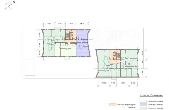 Административно-жилое здание на Малой Трубецкой улице. План типового этажа © Архитектурная мастерская Павла Андреева (АМ «Гран»)