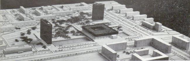 Проект группы институтов у метро «Профсоюзная». Фото с макета // «Строительство и архитектура Москвы», 1965, №8, с. 18.