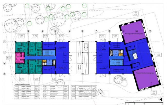 Реконструкция здания под гостиничный комплекс на Бакунинской улице. План первого этажа. Проектная организация: «Архитектурное бюро АИ», заказчик: «Бакунинская»