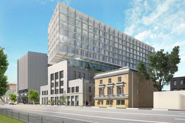 Реконструкция здания под гостиничный комплекс на Бакунинской улице. Второй вариант. Проектная организация: «Архитектурное бюро АИ», заказчик: «Бакунинская»
