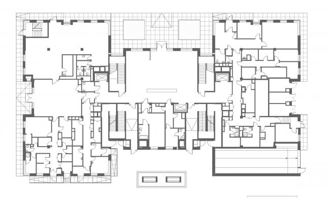Клубный дом в Гороховском переулке. План 1 этажа, 2016 © ADM architects