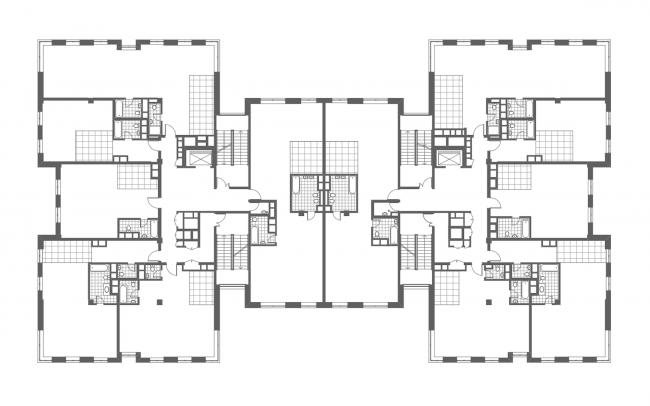 Клубный дом в Гороховском переулке. План 3 этажа, 2016 © ADM architects
