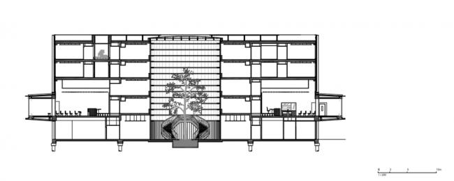 Здание суда в Кане. Разрез 1-1 © be baumschlager eberle